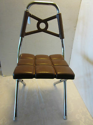 MID CENTURY Kidee Krome Product  child chair BROWN Folding Chrome Plastic RETRO