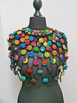 African Statement Necklace/ Button Cape