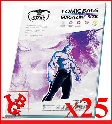 Pochettes Protection MAGAZINE Size comics x 25 Ultimate Guard Bags # NEUF #