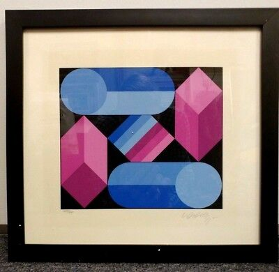 "Victor Vasarely Pencil Signed & Numbered Serigraphs Sceenprint 8"" X 9"""