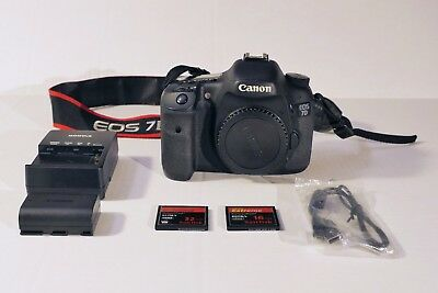 Canon EOS 7D 18.0MP Digital SLR Camera - Body, 1 battery, charger, 2 CF cards