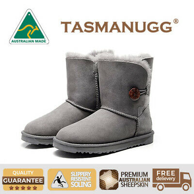 Tasman-Short Button UGG Boots,Australian Made,Premium Australian Sheepskin,Grey