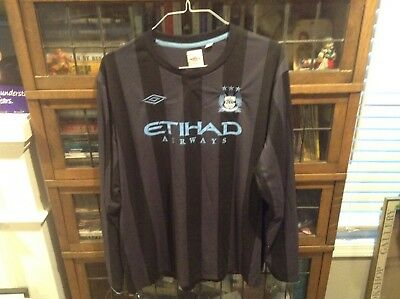 7e9be999b MANCHESTER CITY ENGLAND Striped UMBRO Soccer Long Sleeved Jersey SZ 52 -  Cool