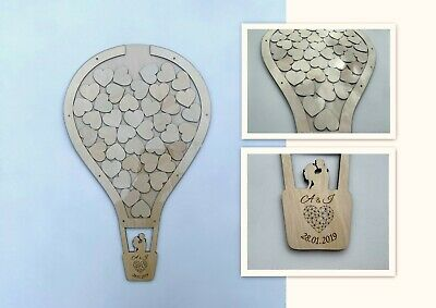 Personalized Wedding Party Guest Book Alternative Wooden Hearts Drop Jar Box 107