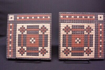Antique Villeroy-Boch Mosaic Style Ceramic Tiles, 6 5/8 x 6 5/8 Lot of 2, Signed
