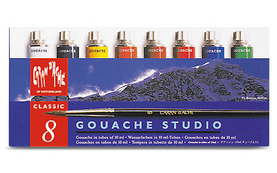 Caran d'Ache Gouache Studio 8 Colors Poster Paint Tubes for Amateur Artists