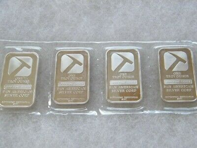 Lot of 4 - 1 OZ .999 FINE SILVER PAN AMERICAN CO. ART BARS