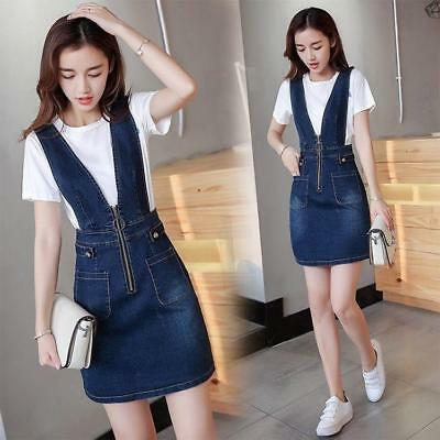 2019 Hot Womens Slim Suspenders Summer Korean Denim Lady Above Knee A-line Dress