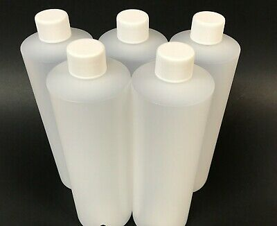 HDPE Natural Plastic Bottles With White Cap And Yorker Caps - 5 Pack - 16oz