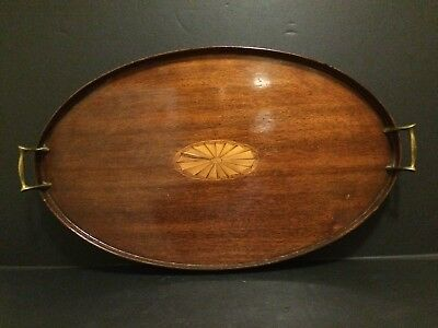 English Mahogany Tray Salver Inlay Fan Gallery Brass  Handles 24 X18 Inches