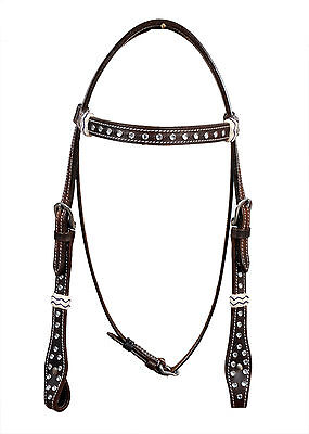 Western Dark Oil Browband Style Clear Stone Studded Headstall with Rawhide Knott