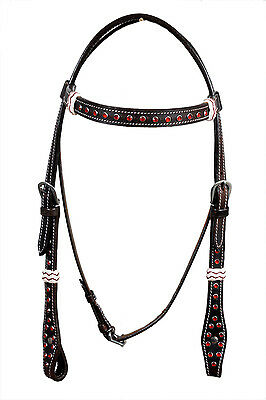 Western Dark Oil Browband Style Red Stone Studded Headstall with Rawhide Knott