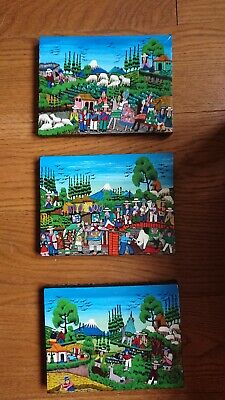 Set 3 Of Mexican Folk Art Paintings.