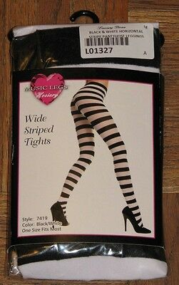fad5ae9d63428 Music Legs Black And White Wide Striped Horizontal Nylon Tights One Size