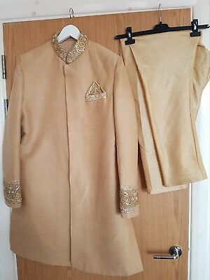 Mens Groom Shirvani/Sherwani Jacket Asian Indian Wedding Attire Size Large Gold