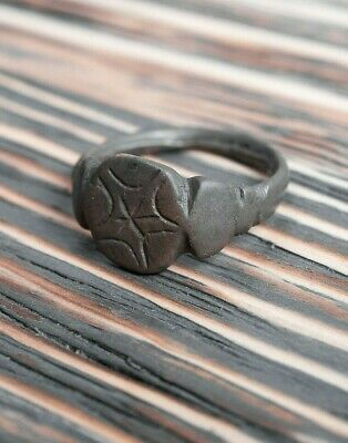 Medieval Crusader's Era 13th-14th Century AD Bronze Ring with Star of Bethlehem