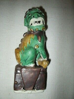 Vintage Chinese Foo Dog Majolica Colors Matte Finish Red Stamp China