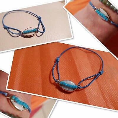 Bracelet Coquillage Cauri Finition Plaque Or Cordon Perle Turquoise Solde