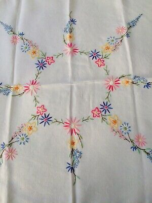 vintage hand embroidered linen tablecloth Stunning