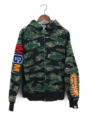 f9b4e353ee5e A BATHING APE TIGER CAMO EMBROIDERY SHARK FULL ZIP HOODIE (L) Bape 17SS Auth