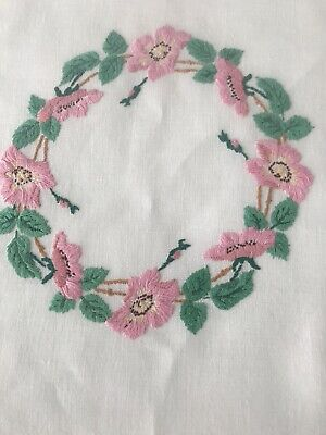 vintage hand embroidered linen tablecloth Stunning Raised