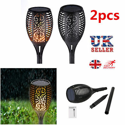 2PCS 96LED Waterproof Solar Torch Light Dancing Flickering Flame Garden Lamps UK