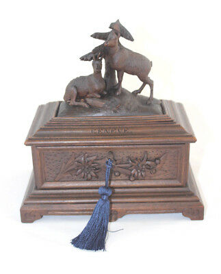 Antique Black Forest Jewelry Casket with Chamois Carving