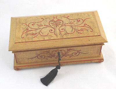 Antique French Country Decor Engraved Wood Jewelry/Document Box