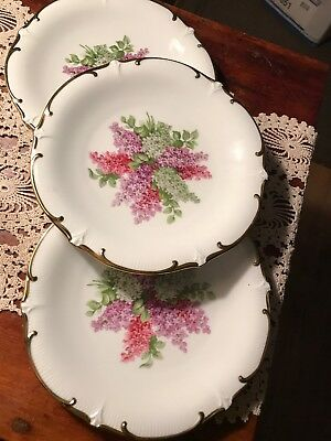 "Schumann Arzberg ""Lilac Time""  3 -Salad Plates flowers gold rim Bavaria Germany"