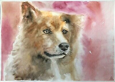 original painting art dog watercolor 3LM-X peinture originale art A3