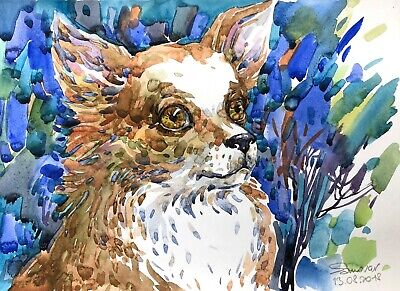 original painting art dog watercolor 14RM-X peinture originale art A3