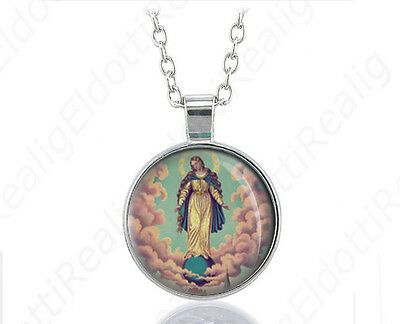 Miraculous Manifestations of Virgin Mary Catholic Necklace Medal Pendant w Chain