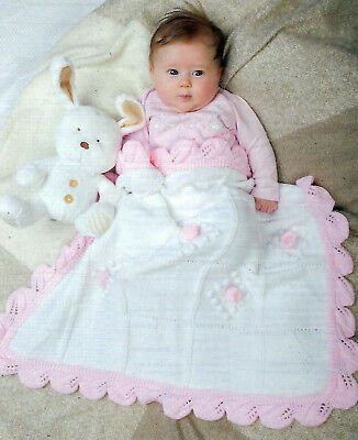 Baby Girls  Boys Flower Blanket Knitting Pattern Pram Cot (1447)