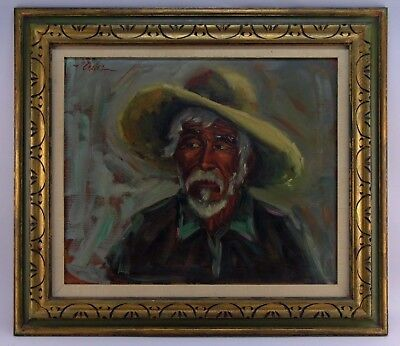 VNTG Mid Century Oil/Canvas Expressionist Portrait signed CHAVEZ 1960's Framed