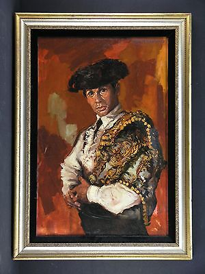 Incredible Bull Fighter Matador Manolete Oil Painting Signed LUQUE M. FERNANDEZ
