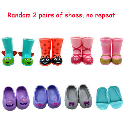 Random 2 Pairs Fit For 14.5'' American Girl Shoes Wellie Wishers Doll Accessory