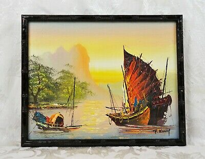 Vintage Signed Mid Century Oil Painting Of Asian Junk Vessels Ships Boats Harbor