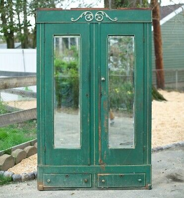 Early Antique Primitive Orig Paint Wardrobe Beveled Mirror Dresser 1920s Cabinet