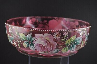 Vintage Hand Painted Cranberry Optic Glass Ruffled Large Bowl