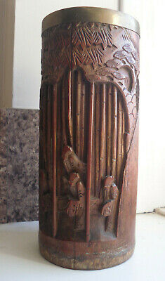 19th Century Antique Asian Chinese Carved Bamboo Brush Pot Brass Top