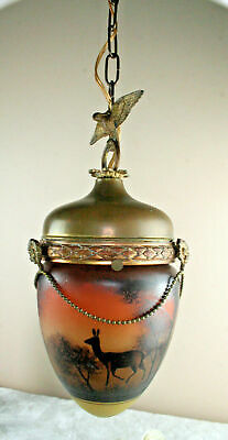 French antique Brass eagle glass paste acorn deer hunt shade rare