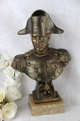 Antique French Bust Napoleon officer eagle bronze spelter Signed marble base