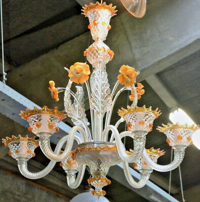 Gorgeous Venetian MURANO handblown orange glass Chandelier 6 arms 1970 Italy