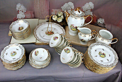 French 55 pcs Limoges porcelain Chadelaud Dinnerware coffee set cup plates