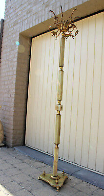 Ornate Antique Brass  Onyx Marble Coat rack hat stand hall 1950