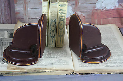 PAIR Art deco Leather book ends French bordeaux red colour