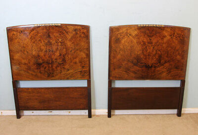 Pair Antique Burr Walnut Single Bed Headbords