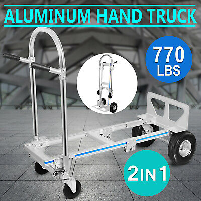 2 in 1 Hand Sack Truck Trolley Cart Heavy Duty 770 Lbs Aluminium Truck