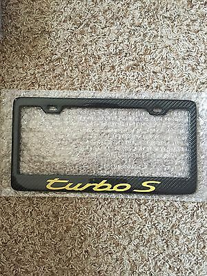 Real Handmade Carbon Fiber License Plate Frame Porsche 911 Turbo S Yellow