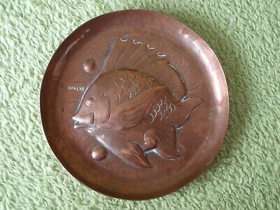 Original Newlyn Arts & Crafts Copper Fish Dish - Impressed 'NEWLYN' - 12cms